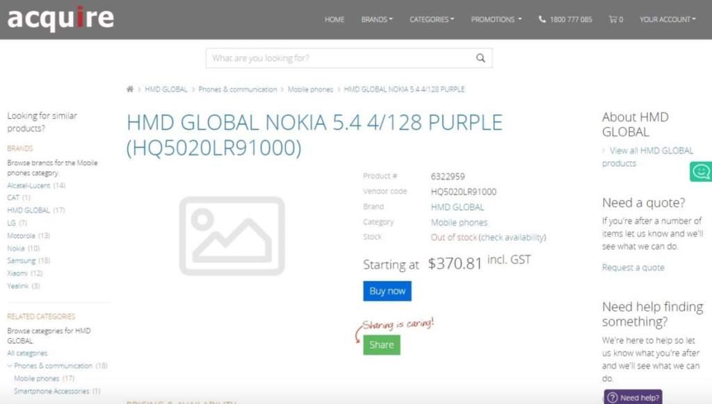 Prix et spécifications du Nokia 5.4 révélés par les premières annonces telephoni ma