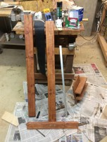 Various Pieces: Note the aluminum bar, vertical and next to the two 2x4s