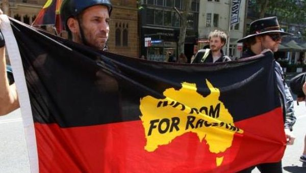 """""""No room for racism."""" Protesters in Sydney demanded action on Indigenous deaths in custody on October 23. (Photo: Peter Boyle/ Green Left Weekly)"""