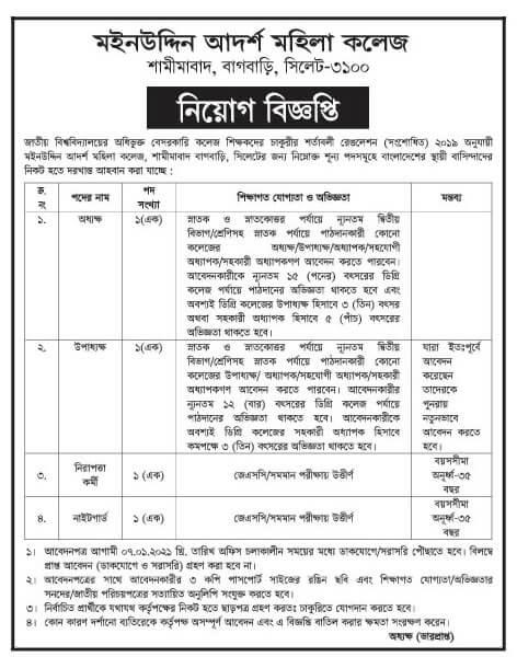 Moinuddin Adarsha Mohila College Job Circular