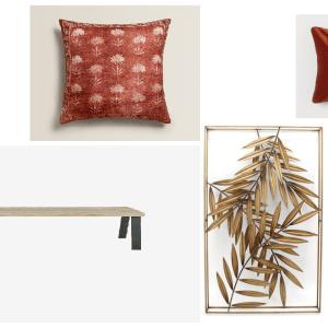 Woonfavorieten; kussenhoes met bloemenprint, wanddeco met palmbladeren + industrieel eetkamerbankje