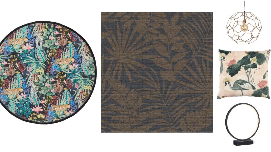 Woonfavorieten; metalen draadlamp, kussenhoes met kraanvogels + tropisch vloerkleed