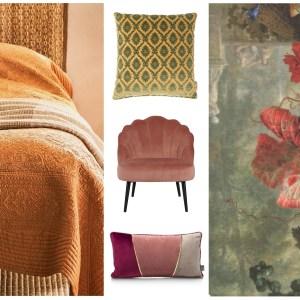 Woonfavorieten; kek roze fauteuiltje, geborduurd dekbed + prachtig bloemen vloerkleed