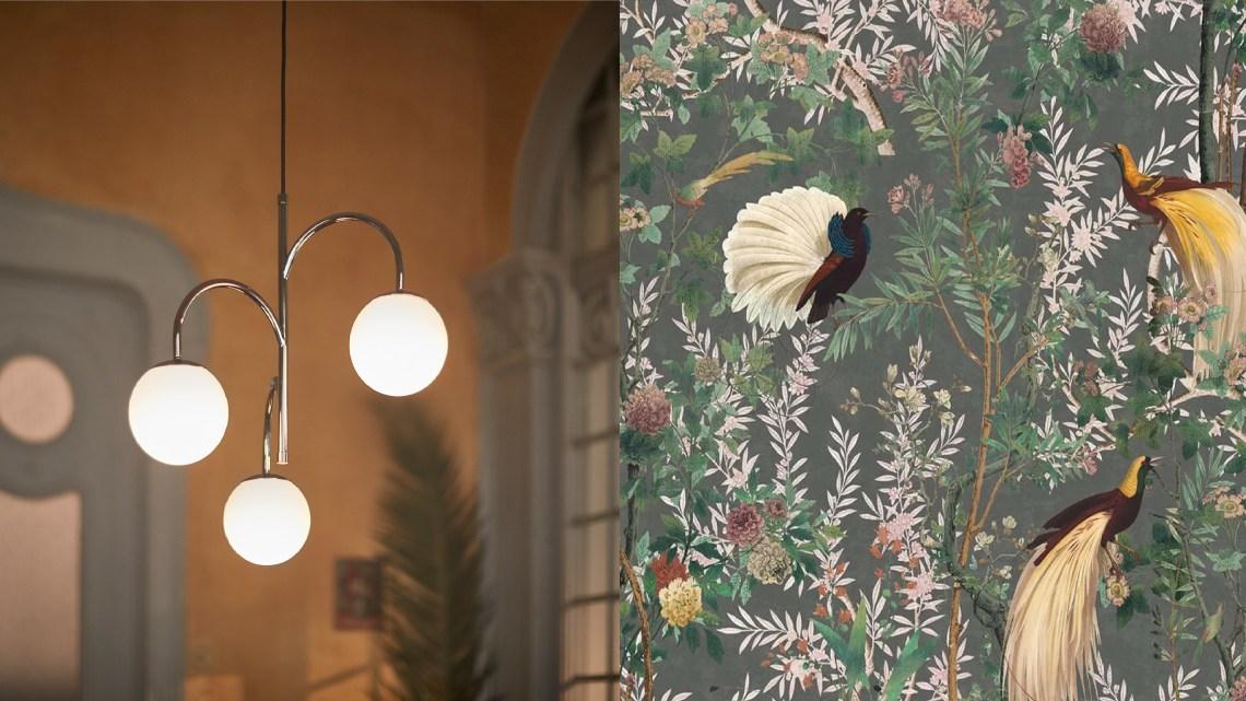 Woonfavorieten; paradijselijk behangetje, kekke lamp + velours fotolijstje