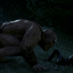 a screencap of emma swan (played by jennifer morrison) being smelled by an ogre