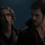 a screencap of rumpelstiltskin (played by robert carlyle) and captain hook (played by Colin O'Donoghue)