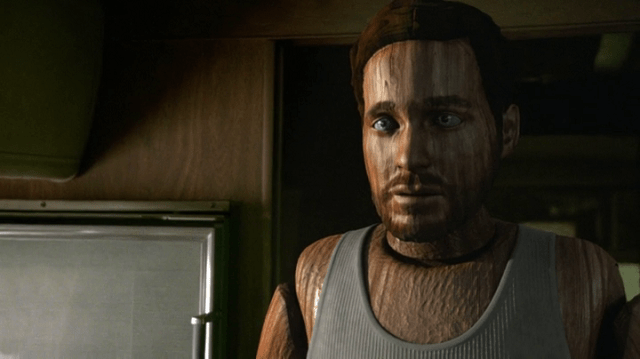 adult wooden puppet august booth (played by eion bailey and CGI)