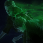 a screencap of henry (played by jared s. gilmore) and peter pan (played by robbie kay) flying through the air trailing pixie dust