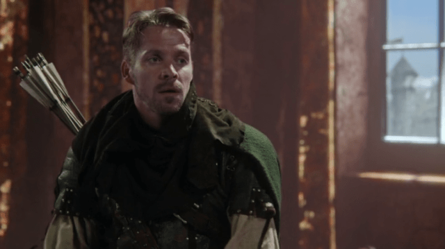 a screencap of robin hood (played by sean maguire)