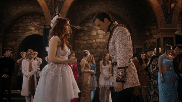 a screecap of ariel (played by joanna garcia swisher) and prince eric (played by gill mckinney)