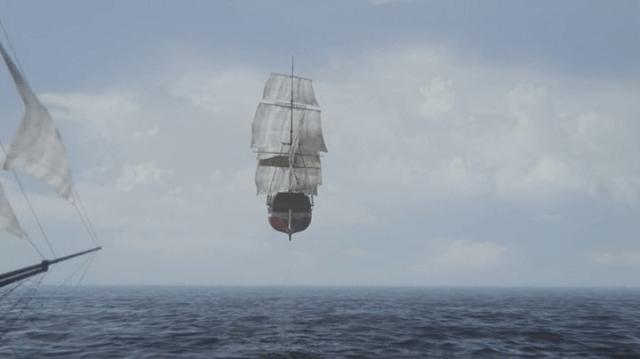 a screencap of a flying ship