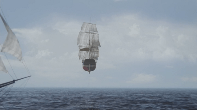 a screencap of a flying ship
