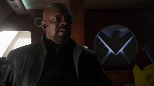 a screencap of nick fury (played by samuel l. jackson) being angry or furious