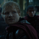 a screencap of ed sheeran playing a lannister soldier