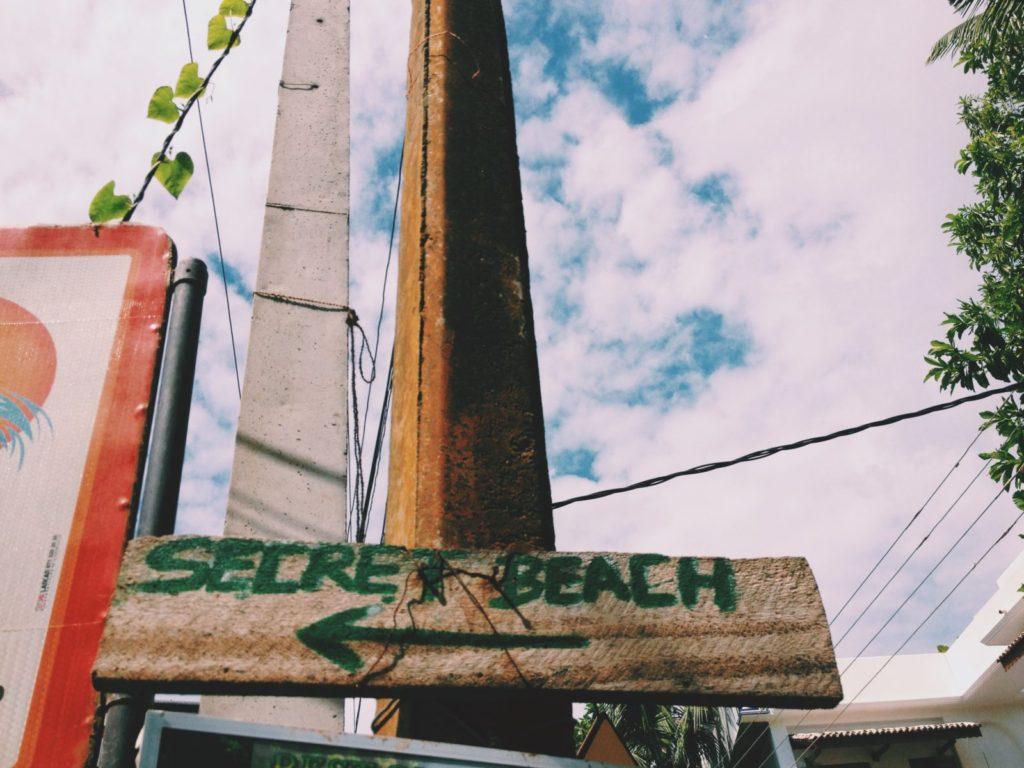 Secret Beach Sign in Mirissa