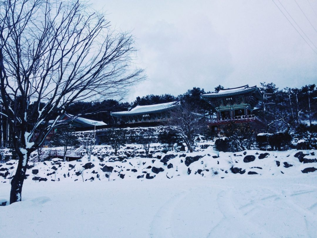 Snow-covered temple