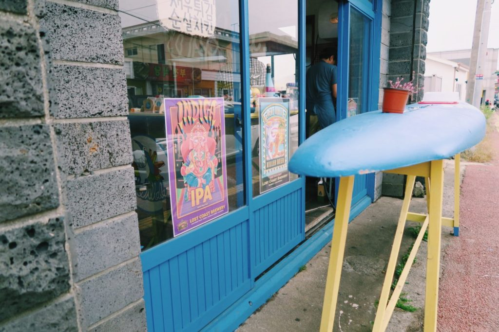 Surf-themed fish and chips shack on Jeju Island