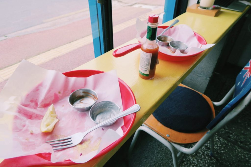 Empty Fish and Chip Plates at Willala Fish and Chips on Jeju Island