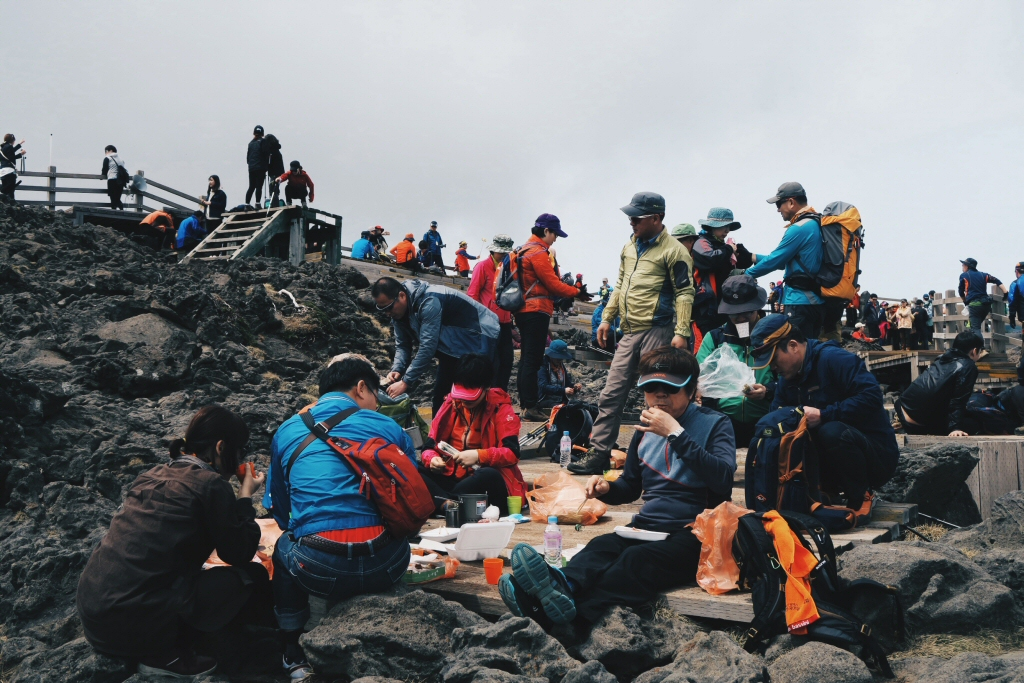 South Korean Hikers Eating and Drinking Soju