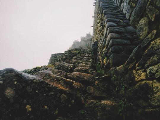 Climbing DOWN Huayna Picchu