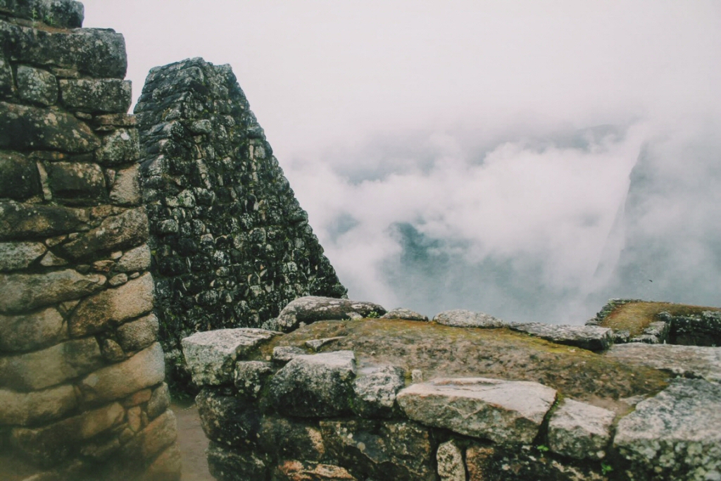 Fog everywhere after climbing down from Huayna Picchu