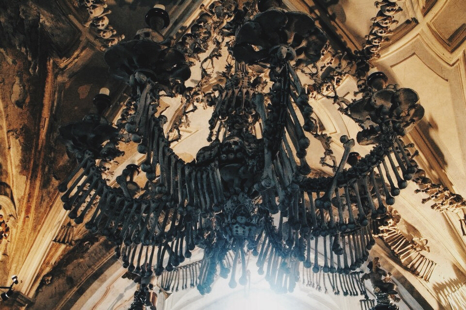 Television of nomads bone chandelier at sedlec ossuary czech republic aloadofball