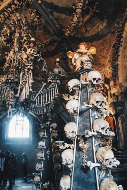 Skull Column in Kutna Hora, Czech Republic
