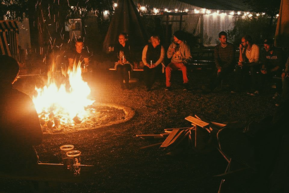 Campfire at The Tent Hostel in Munich, Germany for Oktoberfest