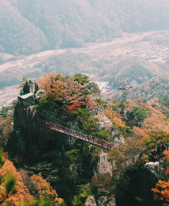 Daedunsan Mountain, Cloud Bridge in South Korea fall
