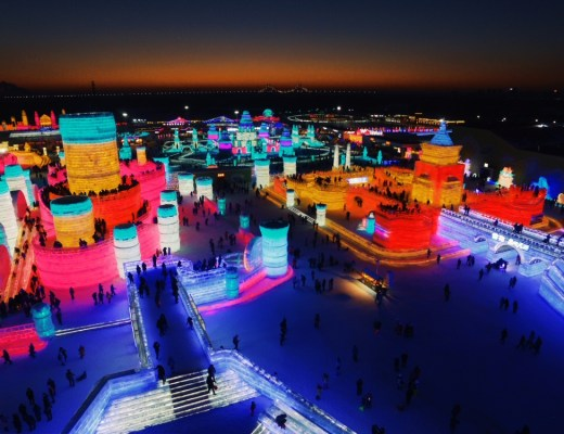 Flying Drone Winter Travel: Harbin, China, Ice and Snow World