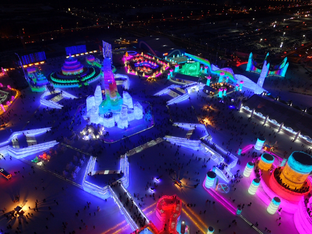 Drone Photograph of Harbin Ice Festival, China