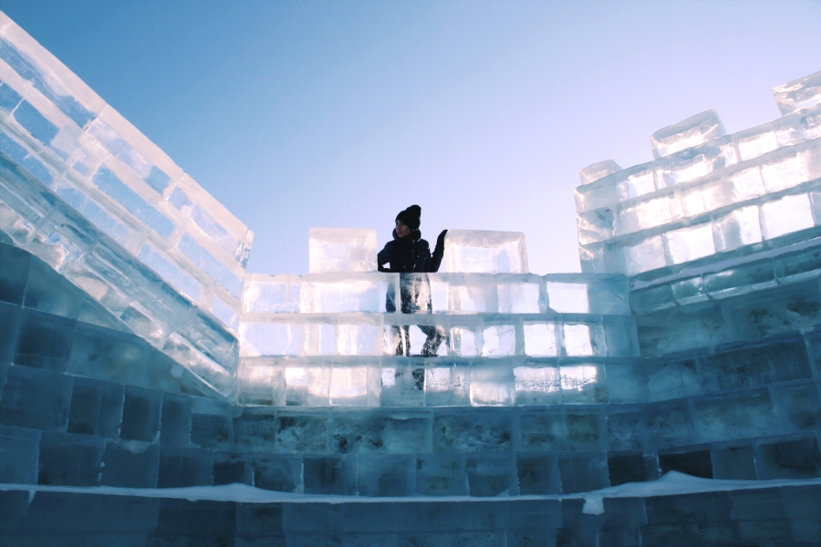 Lauren at Harbin Ice Castle, China Ice Sculpture