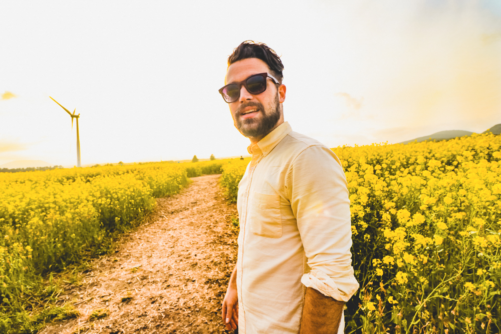 Ben at the Canola flower fields on Jeju Korea