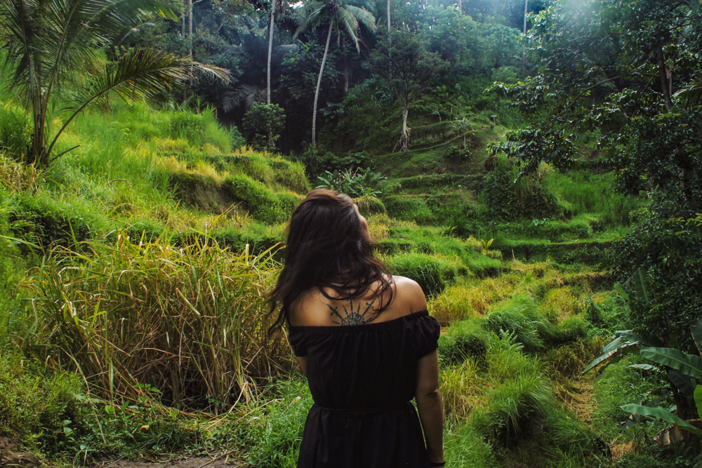 Lauren in Tegallalang Rice Terraces in Ubud, Bali, Indonesia