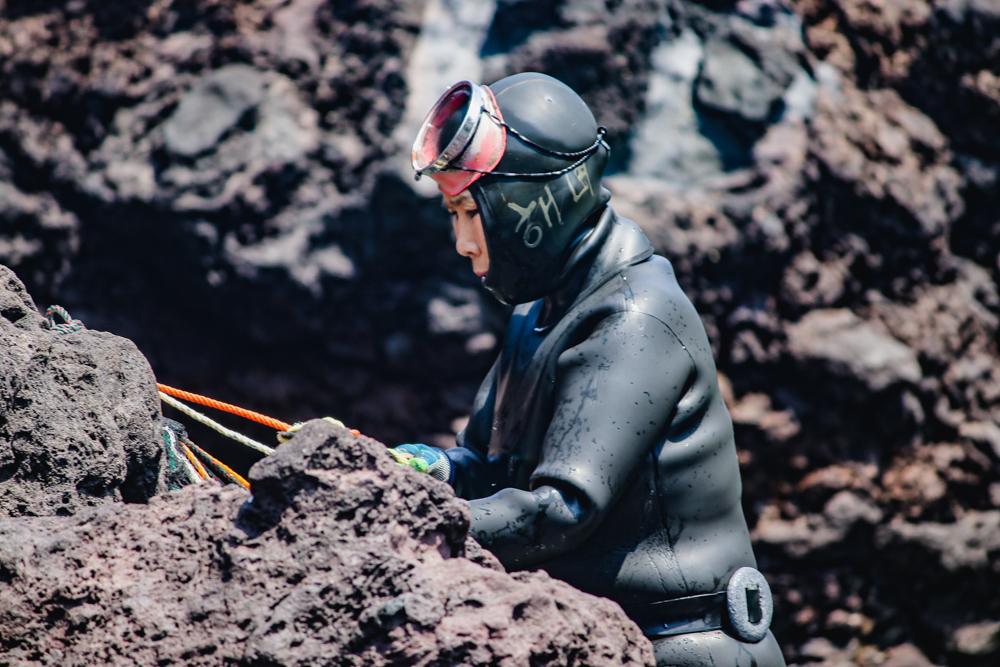 Haenyeo divers at Sunrise Peak, Jeju Island, South Korea