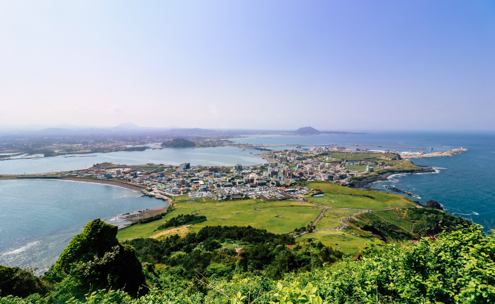 View of Seongsan-ri from the top of Sunrise Peak, Jeju, Korea
