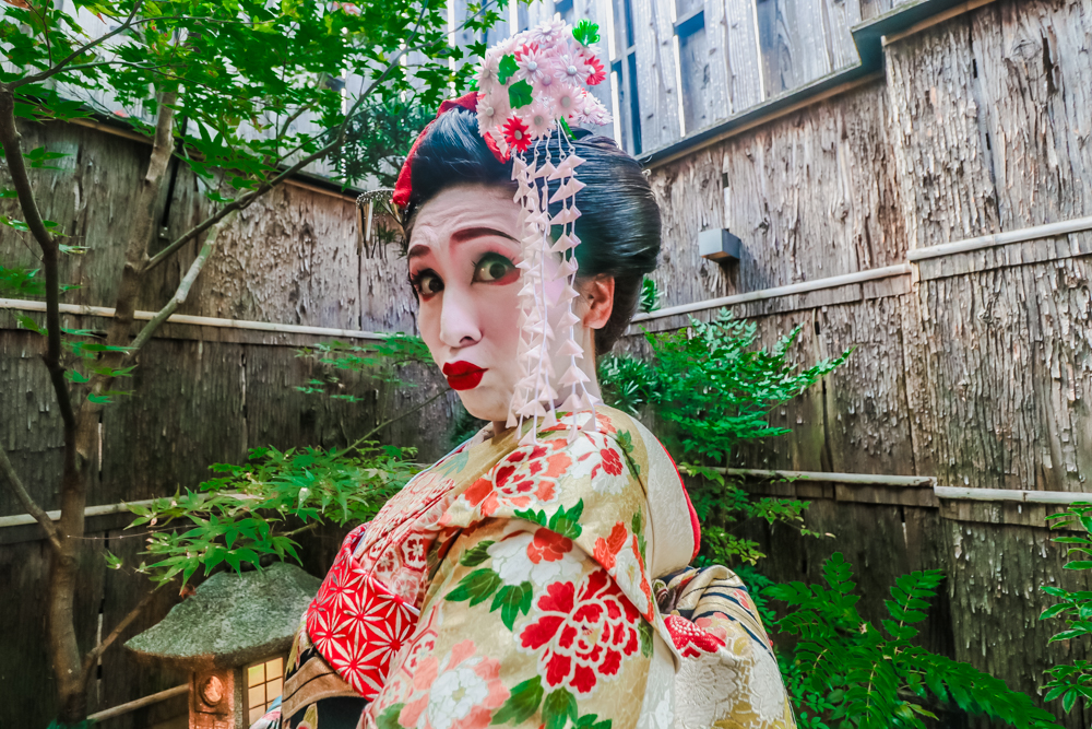 Getting a makeover in the Geisha District in Kyoto, Japan