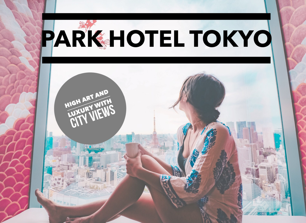 A hotel review of the 4-star luxury Park Hotel Tokyo, transporting guests with its sparkling Tokyo city views and exclusive Japanese artist-designed rooms. One of the best hotels in Tokyo Japan!