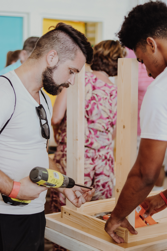 Building tables as part of the Fathom Social Impact cruise in St. Thomas