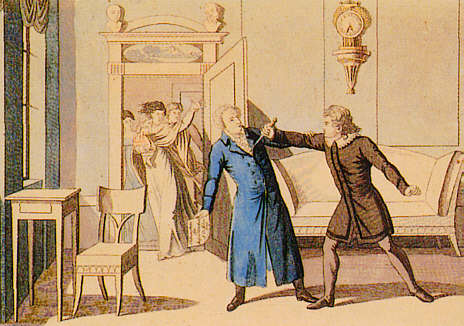 Die Ermordung August von Kotzebues – zeitgenössischer Kupferstich von 1820