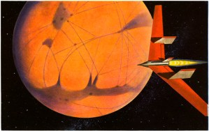 "Science Fiction, Lester Del Rey´s ""Rocket Through Space"", Illustration James Heugh"