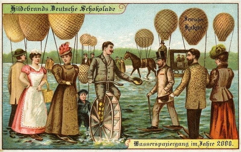 Postkarte mit Motiven aus Science-Ficiton-Erzählungen von Kurd Laßwitzmotiven