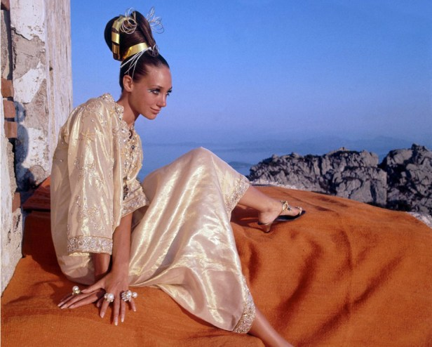 Marisa Berenson in gold caftan by Tina Leser with rings by Gripoix, Photo by Henry Clarke, 1968