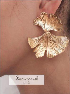 Bohemian Geometric Gold Color Leaf Shape Drop Earrings for Women Statement Earring - red