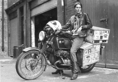 Elspeth Beard, shortly after becom-ing first Englishwoman to circum-navigate the world by motorcycle. The journey took 3 years and cov-ered 48,000 miles