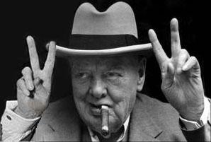 fotomontage Sir Winston Churchill gör VV-tecknet