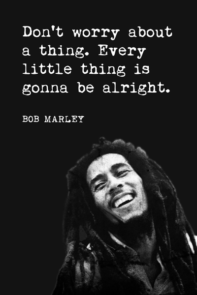 """""""Don't worry about a thing. Every little thing is gonna to be alright. -Bob Marley"""