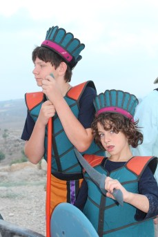 Noah and Boaz Greenfield having fun as Philistines atop the tell 2013