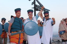 Jeff Chadwick, Aren Maeir, and Amit Dagan having fun as Philistines atop the tell 2013