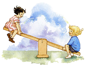 Vulliamy's colour illustration of Milly-Molly-Mandy on seesaw
